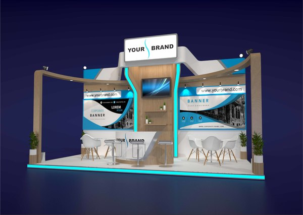 3D model exhibition stand 6x3m