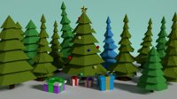 3D new year trees gifts