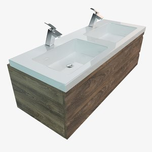 3D bathroom vanity washbasins model