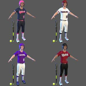 3D softball bat ball