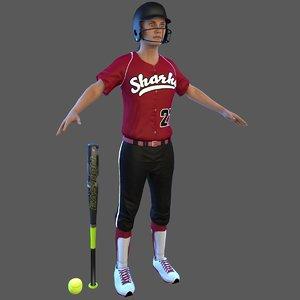 softball 4 bat ball 3D model