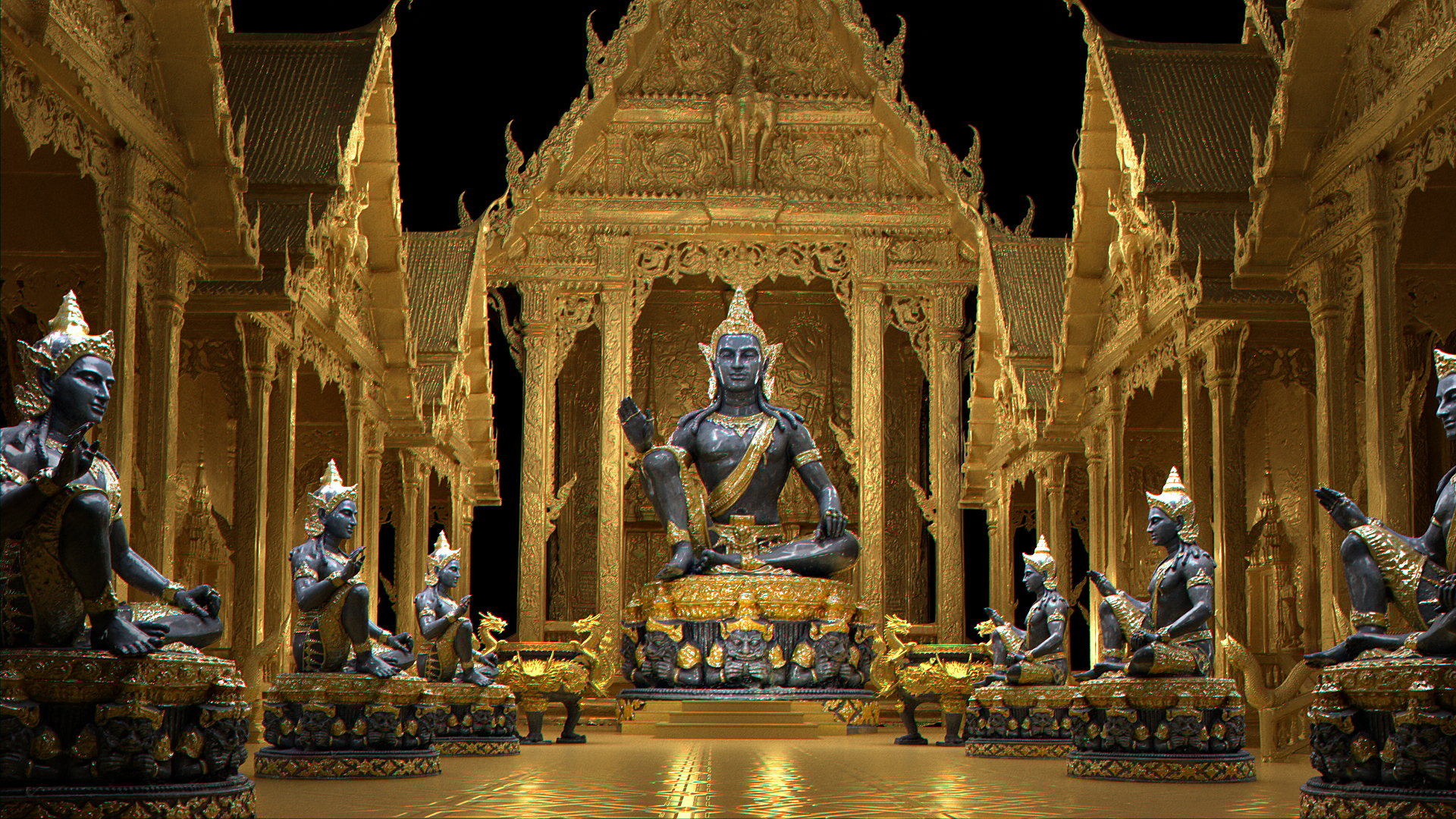 3D golden buddha palace