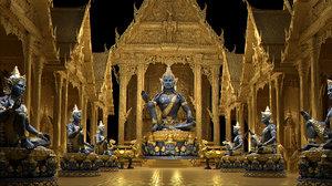 3D golden buddha palace
