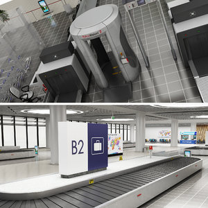 3D realistic airport baggage reclaim model