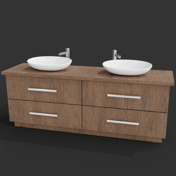 3D modern wooden sink table model