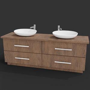 3D modern wooden sink table model