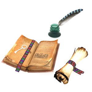 treasure inkwell old book 3D