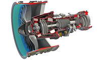3D cutaway turbofan engine