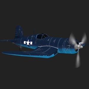 f4u fighter plane flying 3D model