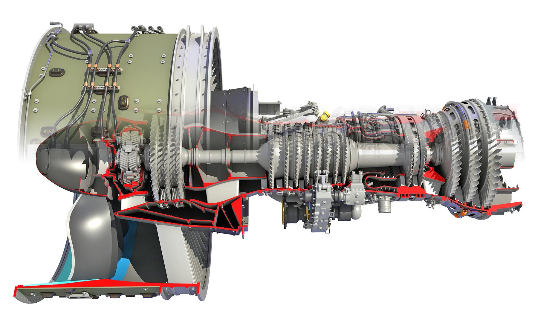 3D geared turbofan engine cutaway