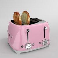 toast smeg toaster pink 3D model