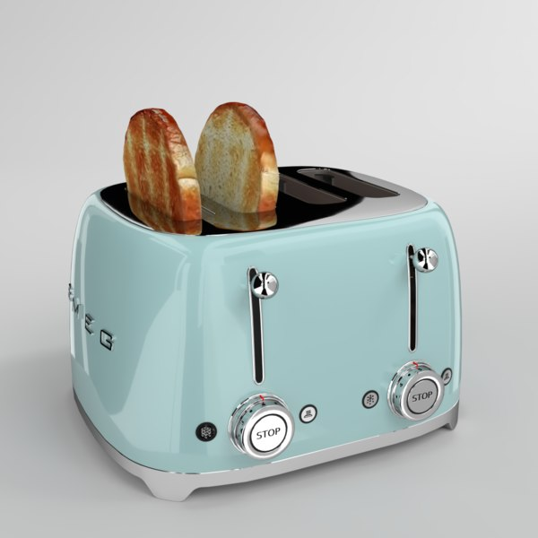 toast smeg toaster aquamarine 3D model