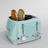 toast smeg toaster aquamarine 3D model