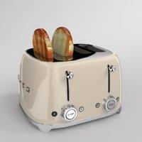 toast smeg toaster creme 3D