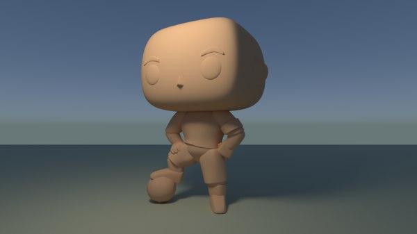 custom pop soccer player 3D model