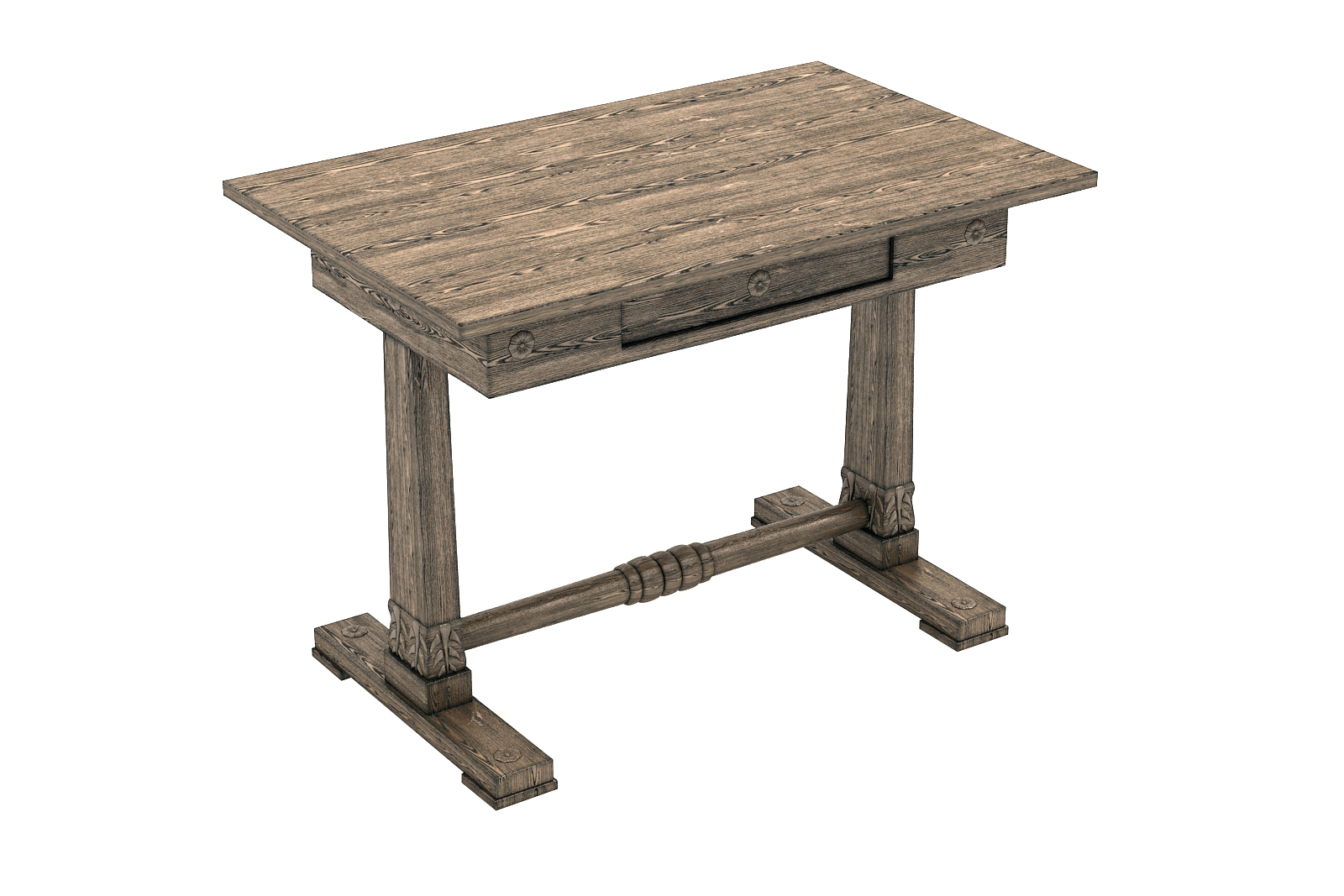 3D old table desk scratches model