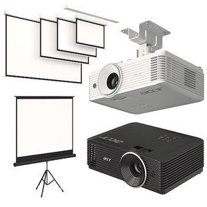 acer projector screen set 3D model