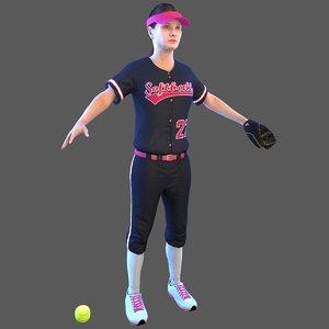 3D softball ball model