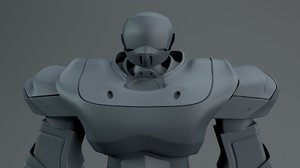 cyborg bust scifi robot character 3D