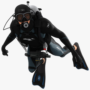 3D model animations diver
