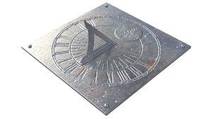 3D worn antique sundial