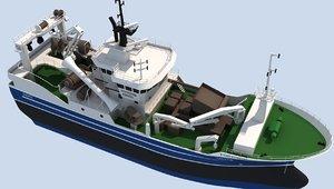 3D fishing trawler