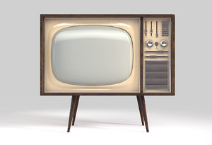 3D concept vintage television 60 s model