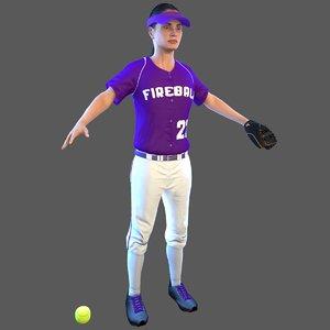 softball ball 3D model
