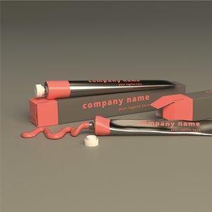 paint tube packaging set 3D model