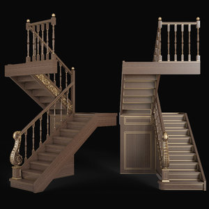 step staircase architectural 3D model