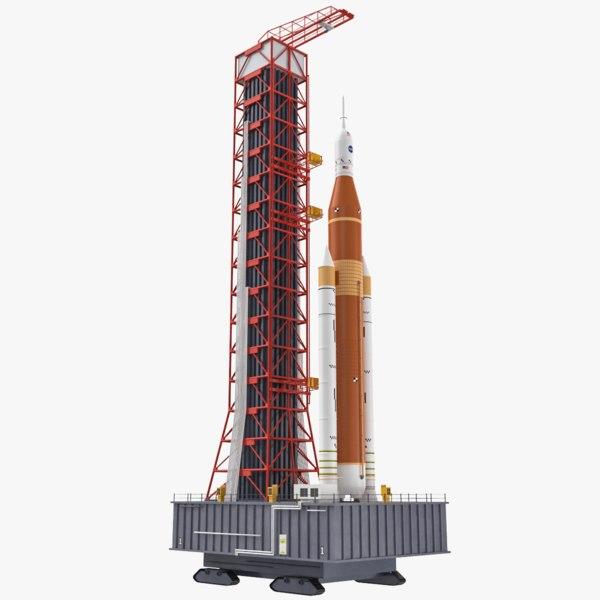 sls block 1 rocket launch 3D