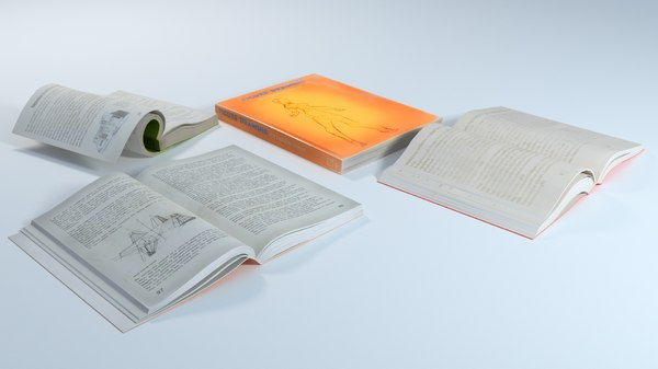3D model group books soft