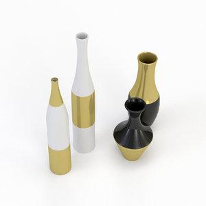 3D architectural visualization gilded vase model