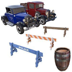 pack vintage vehicles wooden barrel 3D model