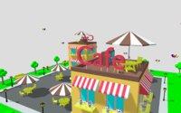 Low Poly City Cartoon Cafe