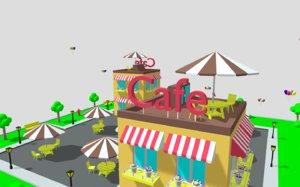 city cartoon cafe 3D model