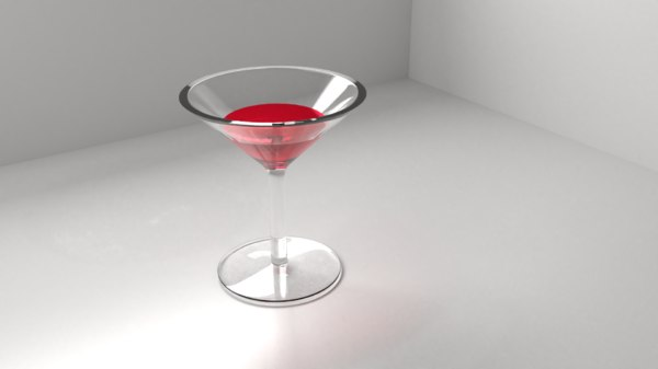 3D wine glass 5 liquid model