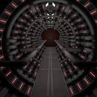 3D sci fi spaceship corridor