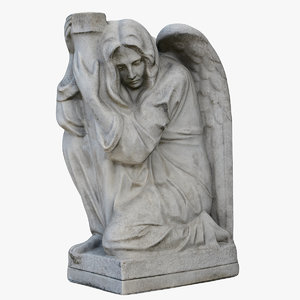 angel flag holder statue 3D