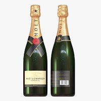 3D champagne bottle - moet model
