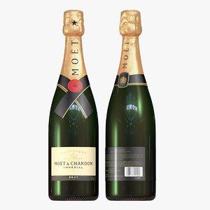 3D champagne bottle - moet model