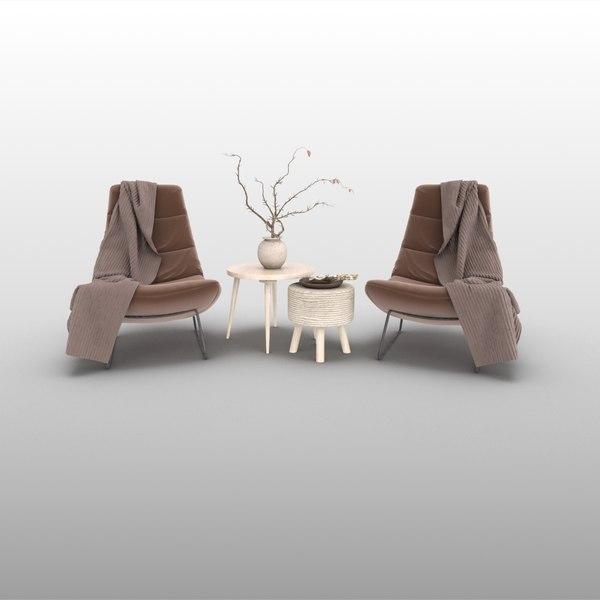 3D ikea table chair