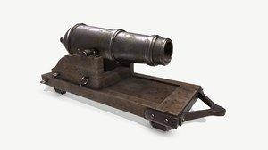 3D carronade cannon navy model