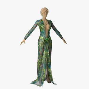 3D model jlo green dress