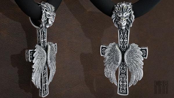 jewellery cross lions head 3D model