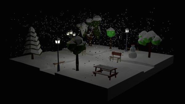 winter park night 3D model