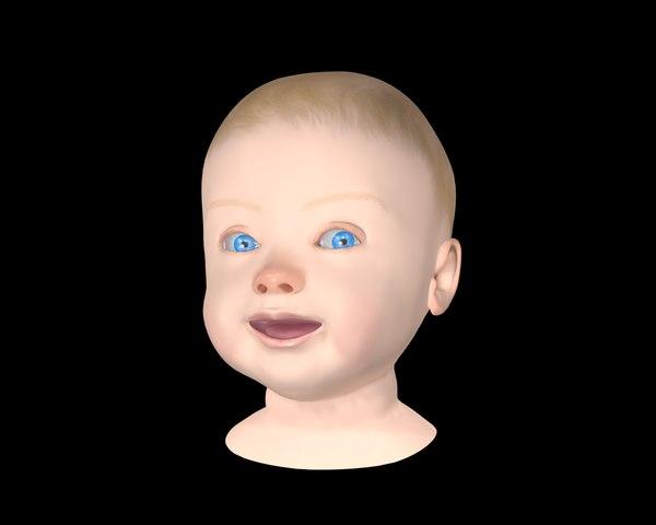 infant baby head 3D model