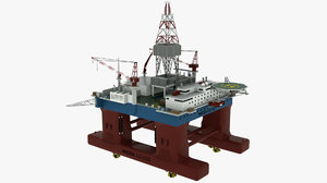 floating drilling rig 3D model