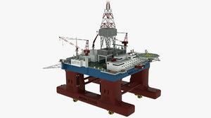 floating drilling rig 3D model