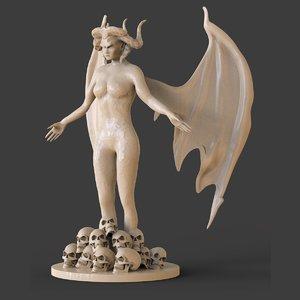 3D demon woman model